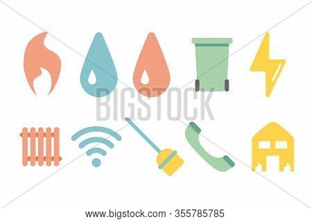 Utility Icon Water Electric Heating Bill Payment Vector