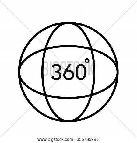 360 Degree 3d Virtual Panorama View Icon Vector