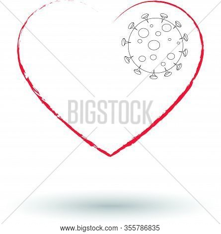 Virus Infected Heart Vector Illustration. Coronavirus Covid19 Pandemic, Epidemic. Dangerous For Life