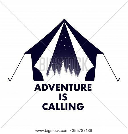 Wanderlust Tent Travel Logo Adventure Calling Vector Illustration