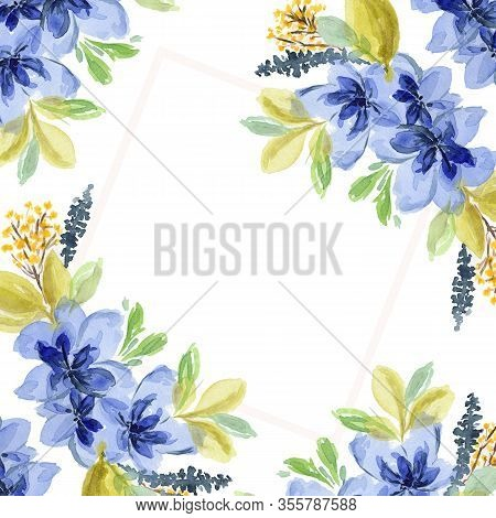 Delicate Square Watercolor Frame With Blue Flowers. Tender Floral Composition For Greeting Cards Des