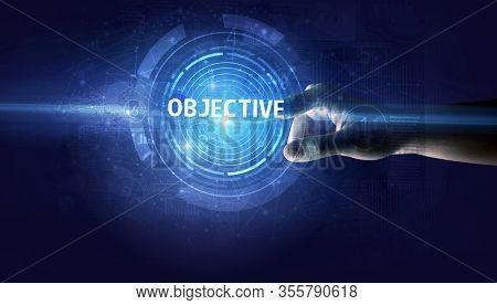 Hand touching OBJECTIVE button, modern business technology concept