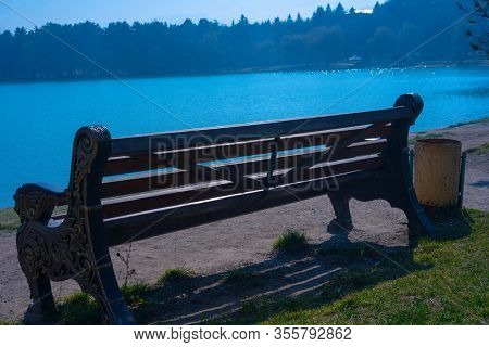 Bench Near The Lake And Trees.bench Near The Lake And Trees