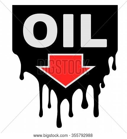 Oil Prices Design With Drips And Down Arrow, Showing A Decline In Oil Prices.