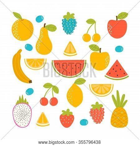 Set Of Organic Tropical Fruit. Fresh Vegan Kitchen. Hand Drawn Apple, Lemon, Orange, Strawberry, Pin