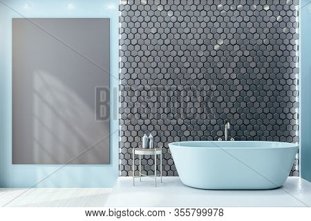 Contemporary Loft Bathroom With Blank Wall, Comfortable White Bathtub And Self Care Products. 3d Ren