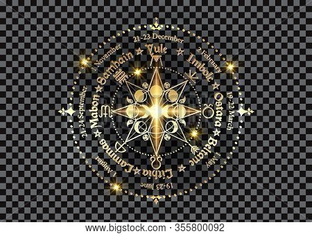 Wheel Of The Year Is An Annual Cycle Of Seasonal Festivals. Gold Wiccan Calendar And Holidays. Compa
