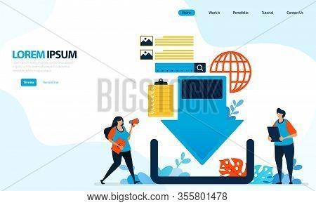 Vector Illustration For Downloading Graphic Design. Internet Server Network, Down Arrow To Download.