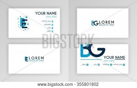 Blue Business Card Template. Simple Identity Card Design With Alphabet Logo And Slash Accent Decorat