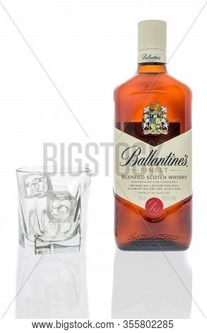 Winneconne,  Wi - 12 March 2020:  A Bottle Of Ballantines Finest Blended Scotch Whisky With A Glass