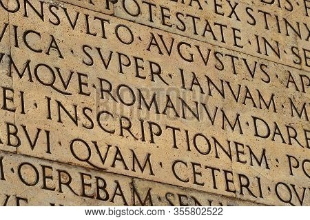 Latin Ancient Language And Classical Education. Inscription From Emperor Augustus Famous Res Gestae