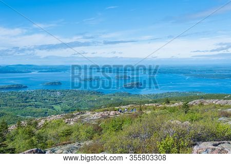 Amazing View Of Beautiful Small Islands From Cadillac Mountain In Acadia National Park Maine Usa
