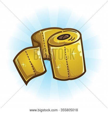 A Rare Luxurious Roll Of Shiny Golden Toilet Paper Vector Illustration