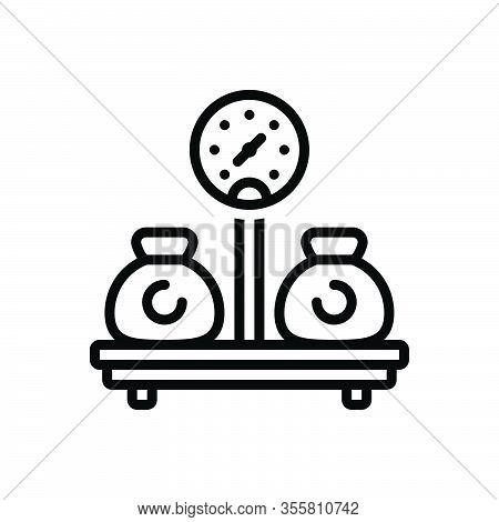 Black Line Icon For Weight Sinker Encumbrance Stowage Heaviness Mass Load Burden Pressure