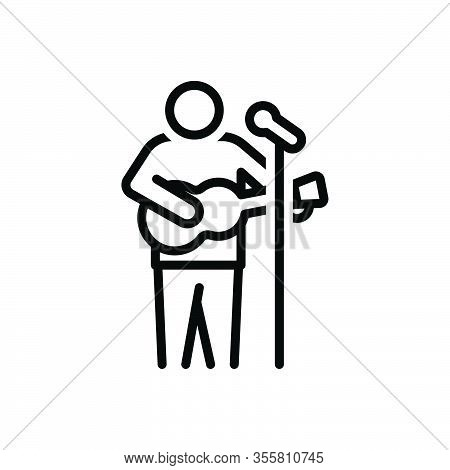 Black Line Icon For Act Actor Acting Cheerful Entertainment Performers Playing-guitar Sing