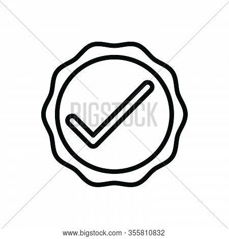 Black Line Icon For Okay Acceptance Approval Tick Checkmark Checkbox Survey Accept Inquiry