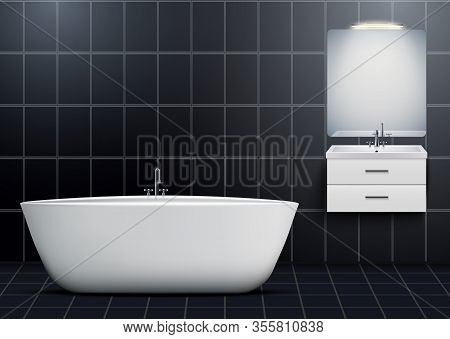 Bath And Washbasin Cabinet With Mirror And Light. Dark Domestic And Hotel Bathroom Design Interior.