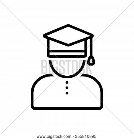 Black Line Icon For Scholar Academic Learned-person Professor Degree Bachelor Education