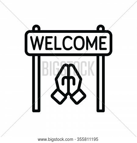 Black Line Icon For Welcome Acceptance Reception Praise Compliment Acclamation Greeting Reception
