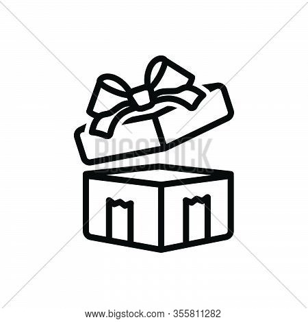 Black Line Icon For Gifted Giftbox Surprise Wraped Ribbon Contribution Souvenir Giveaway Bounty Pres