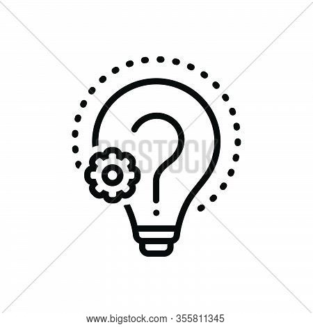 Black Line Icon For Reason Creativity Doubt Find Cause Logic Sake Analysis Confused Argumentation Re