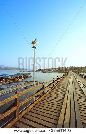 Mon Bridge In Sangkhla Buri, Kanchanaburi Province, Thailand.
