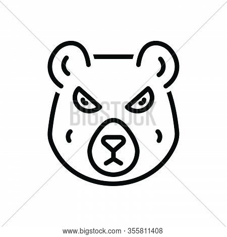 Black Line Icon For Bear Omnivores-animal Grizzly Animal Polar-bear Hunting Wild Nature Face Dangero