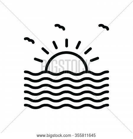 Black Line Icon For Scene Visual Phenomenal Sight Nature Lake Landscape Ocean Sun