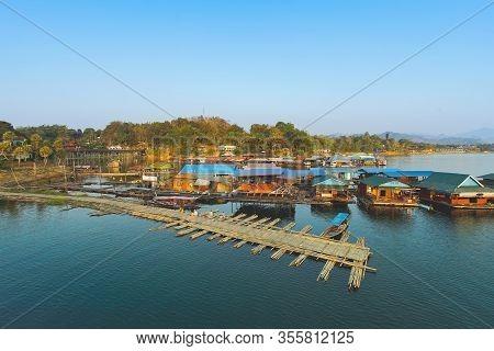 Houseboats At Sam Pra Sob In Sangkhla Buri, Kanchanaburi, Thailand.