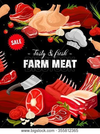 Beef, Pork, Ham, Bacon And Turkey Meat. Vector Steaks, Bacon Stripes And Ham, Chicken Legs, Turkey A