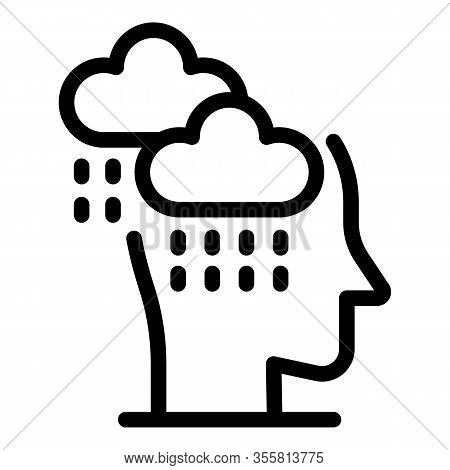 Stress Rainy Icon. Outline Stress Rainy Vector Icon For Web Design Isolated On White Background