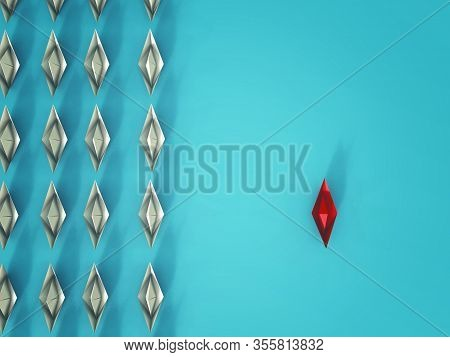Group Of White Paper Ship In One Direction And One Red Paper Ship Pointing In Different Way .think O