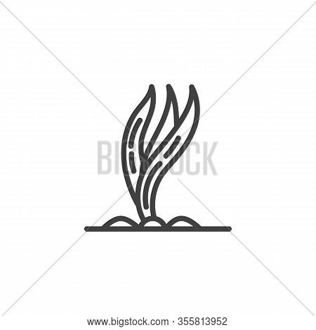Growing Onion Leaves Line Icon. Plant In A Soil Linear Style Sign For Mobile Concept And Web Design.