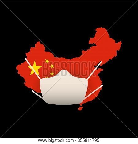 Quarantined China, China On Quarantine Concept. China Map In National Flag Colors, A White Medical M
