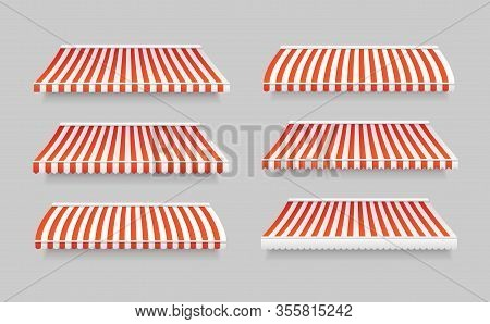 Realistic 3d Detailed Striped Awning Set Outdoor Tent For Cafe And Shop. Vector Illustration Of Awni