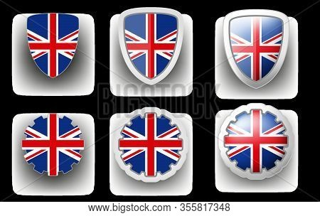 6 Vector Icons Of United Kingdom (uk) Flag Shield Button And Cogwheel, Flat And Volumetric Style In
