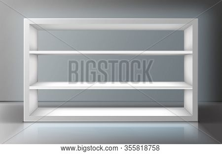 White Showcase With Shelves In Shop, Boutique Or Gallery. Vector Realistic Mockup Of Empty Display S
