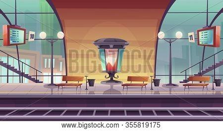 Railway Station, Empty Railroad Platform For Train With Glass Dome, Morris Billboard Pillar, Arrival