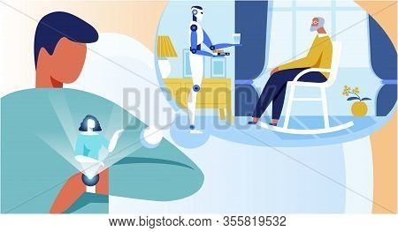 Flat Cartoon Young Man Controlling Remotely Personal Robot Assistant Via Smart Watch. Guy Watching H