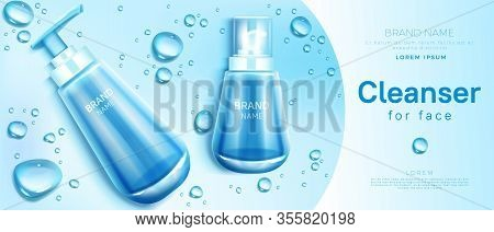 Cleanser For Face Cosmetics Bottle Mockup Banner. Skin Care Cosmetic Pump Tube On Blue Background Wi