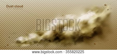 Dust Cloud, Dirty Brown Smoke, Heavy Thick Smog With Motes Sand And Soil Particles Isolated On Trans