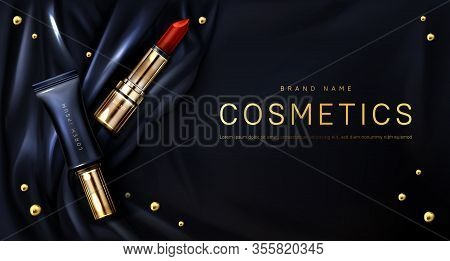 Lipstick Cosmetics Make Up Beauty Product Ad Banner. Red Rouge And Liquid Gloss Tubes On Black Silk