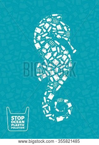 Stop Ocean Plastic Pollution Concept Vector Illustration. Seahorse Marine Animal Silhouette Filled W