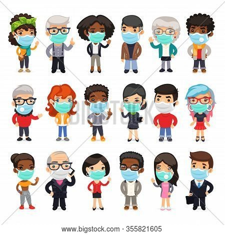 Flat Cartoon Characters Collection Of People Wearing Medical Face Masks To Prevent Viruses, Disease,