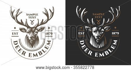 Deer Head Design Element In Vintage Style For Logotype, Label, Badge, T-shirts And Other Design. Ret