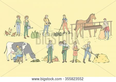 Farming, Rural Life, Husbandry, Agriculture Set Concept. Group Of People, Men And Women Farmers Agri