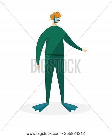 Redheaded Man Scuba Diver In Green Swimming Suit, Flippers And Mask Isolated On White Background. Sn