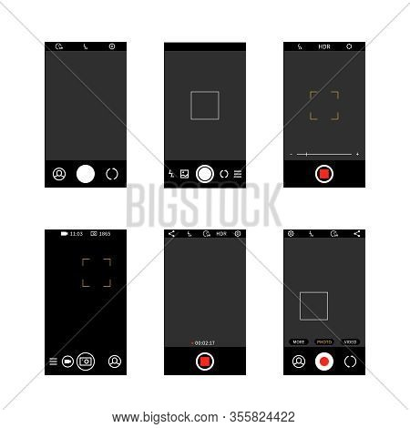 Smartphone Camera Screen Interface. Modern Social Media Mobile Application Ui Photo Frame Design, Ca