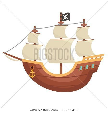 Pirate Wooden Boat Buccaneer Sailing Filibuster Bounty Corsair Sea Dog Ship Isolated Cartoon Flat De