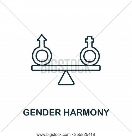 Gender Harmony Icon From Life Skills Collection. Simple Line Gender Harmony Icon For Templates, Web